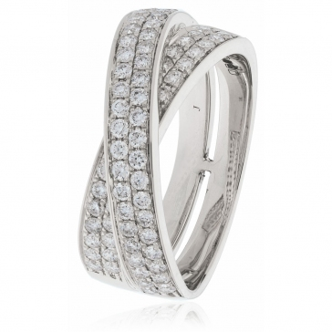 Diamond Pave Cross-Over Ring 0.80ct, 18k White Gold