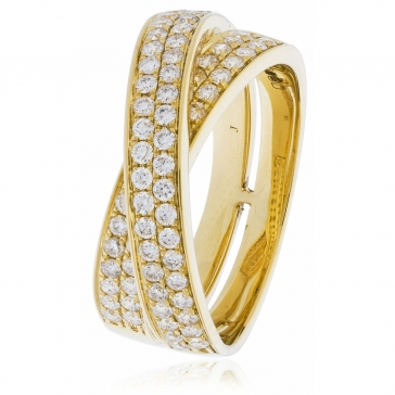 Diamond Pave Cross-Over Ring 0.80ct, 18k Gold