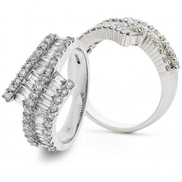 Diamond Baguette Cross-Over Ring 1.45ct, 18k White Gold