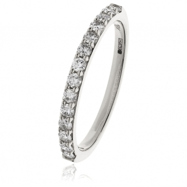 Diamond Half Eternity Ring 0.35ct, 18k White Gold
