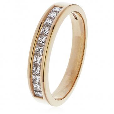 Diamond Princess Half Eternity Ring 0.50ct, 18k Rose Gold