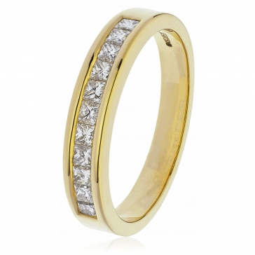 Diamond Princess Half Eternity Ring 0.50ct, 18k Gold