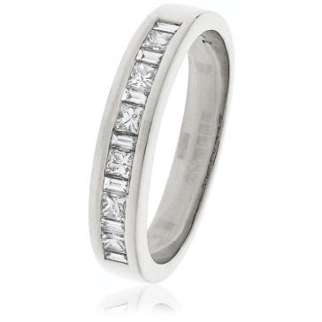 Diamond Baguette & Princess Ring 0.50ct, 18k White Gold