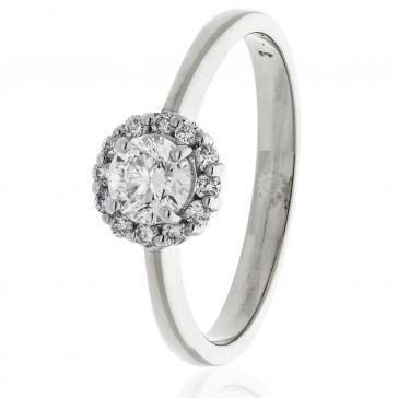 Diamond Engagement Ring 0.55ct, 18k White Gold