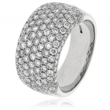 Diamond Pave Set Half Eternity Ring 2.45ct, 18k White Gold