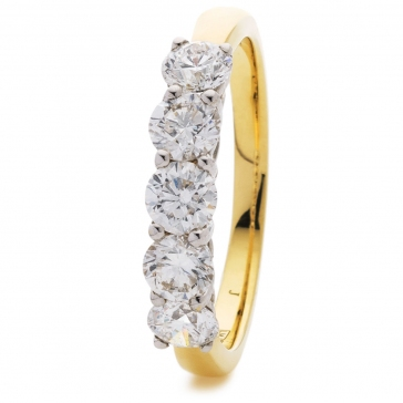 Diamond 5 Stone Ring 1.50ct, 18k Gold