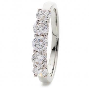 Diamond Five Stone Ring 2.00ct, 18k White Gold