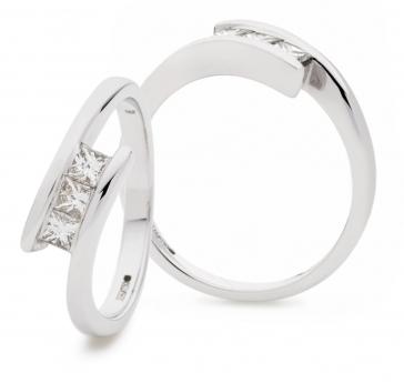 Diamond Channel Set Princess Cut Trilogy Ring 0.33ct, 18k White Gold
