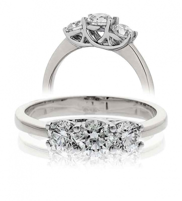 Diamond Three Stone Trilogy Ring 0.75ct, 18k White Gold