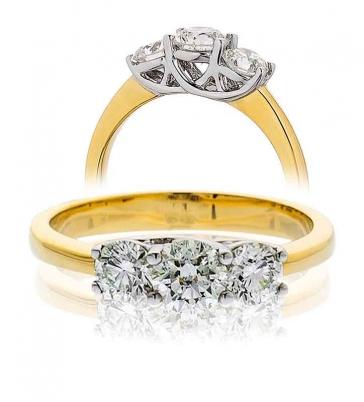 Diamond Three Stone Trilogy Ring 0.75ct, 18k Gold