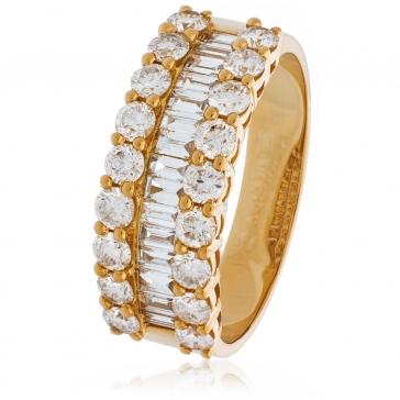 Diamond Baguette Half Eternity Ring 1.50ct, 18k Rose Gold
