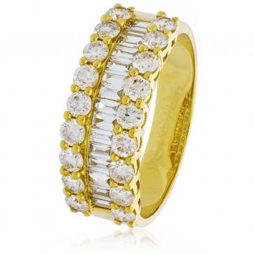 Diamond Baguette Half Eternity Ring 1.50ct, 18k Gold