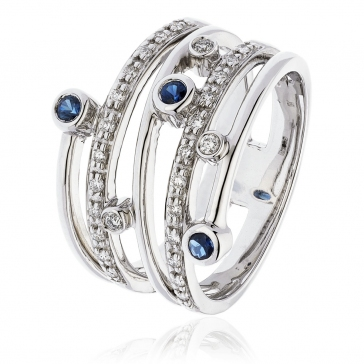 Diamond & Sapphire Dress Ring 0.40ct, 18k White Gold