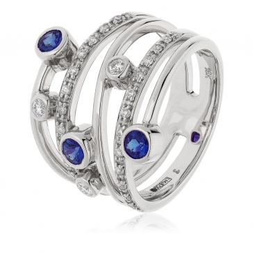 Diamond & Sapphire Dress Ring 0.70ct, 18k White Gold