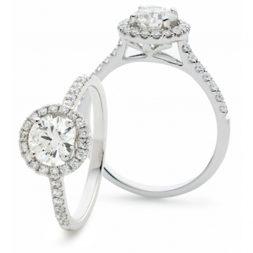 Diamond Halo Engagement Ring 0.65ct, 18k White Gold