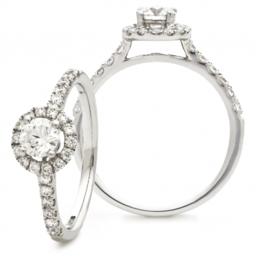 Diamond Halo Engagement Ring 1.20ct, 18k White Gold