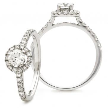 Diamond Halo Engagement Ring 0.90ct, 18k White Gold