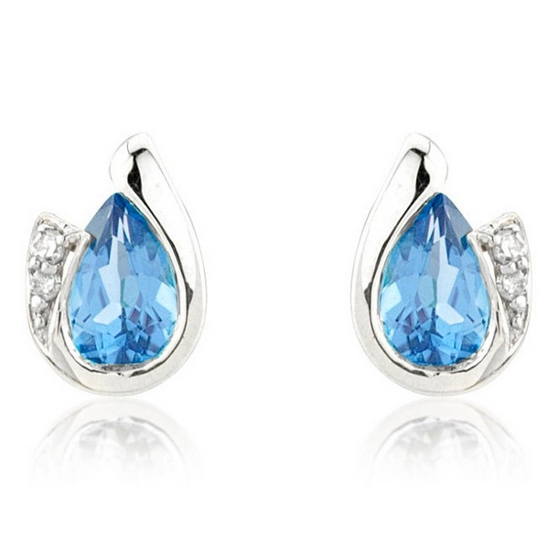 f2fc62d44 Diamond and Blue Topaz Pear Cut Earrings, 9k White Gold - Blue Topaz ...