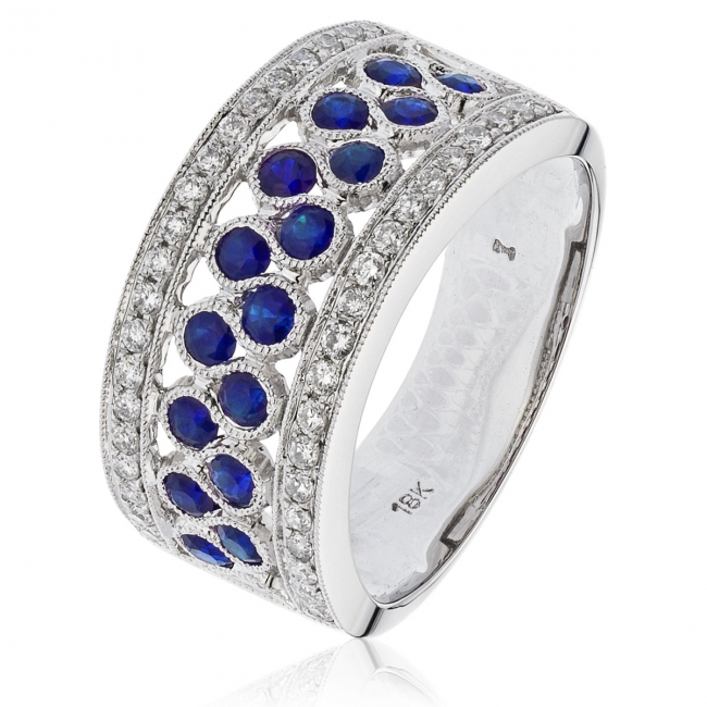 29dc7872091e Sapphire   Diamond Half Eternity Ring 1.20ct. 18k White Gold
