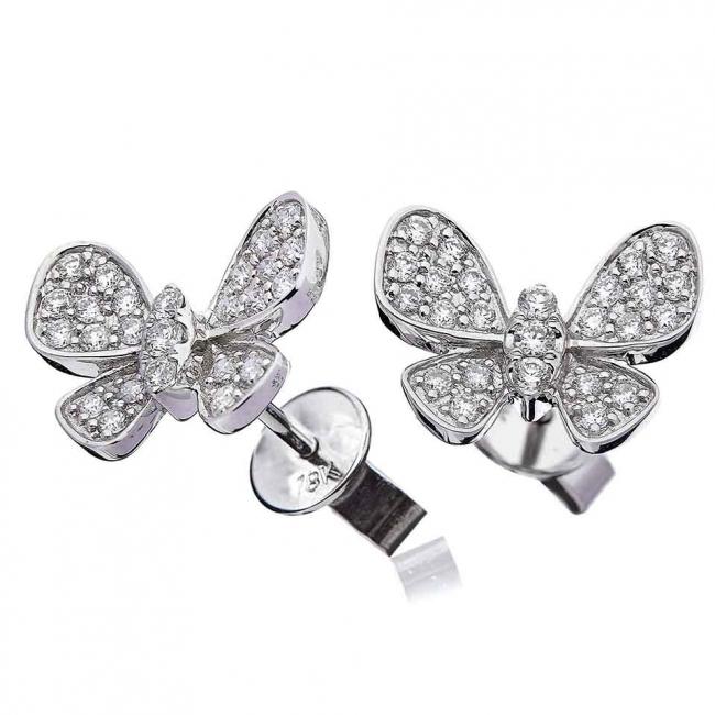Diamond Butterfly Pavé Stud Earrings 0 50ct set in Solid 18k White