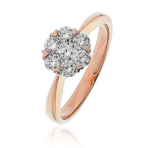 Diamond Cluster Engagement Ring 0.60ct, 18k Rose Gold