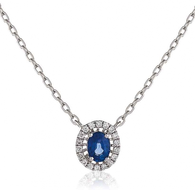 Diamond and blue sapphire pendant necklace 18k white gold mozeypictures Images