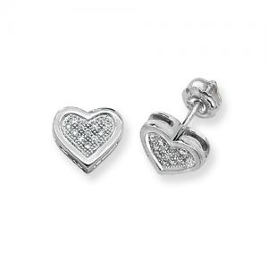 Diamond Heart Earrings 0 50ct 9k White Gold