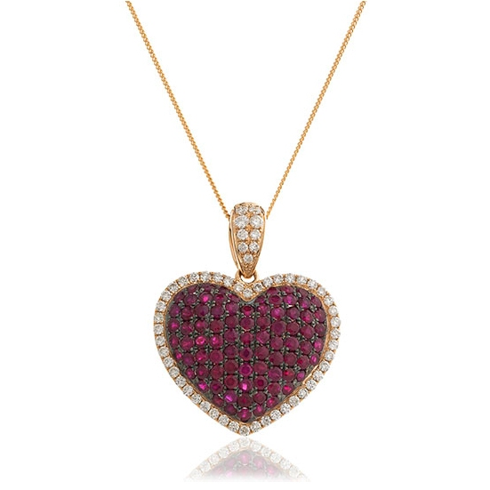 Ruby diamond pav heart pendant necklace 210ct ruby diamond pave heart pendant necklace 210ct aloadofball Gallery