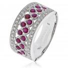 Ruby & Diamond Half Eternity Ring 1.10ct. 18k White Gold