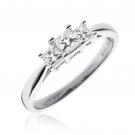 Diamond Princess Trilogy Ring 0.50ct, 18k White Gold