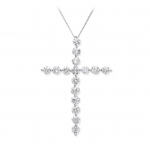 Diamond Cross Necklace 0.75ct, 18k White Gold