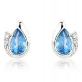 Diamond and Blue Topaz Pear Cut Earrings, 9k White Gold
