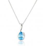 Diamond and Blue Topaz Drop Pendant Necklace, 9k White Gold