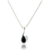 Diamond and Sapphire Drop Pendant Necklace, 9k White Gold