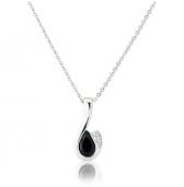 Diamond and Sapphire Drop Pendant Necklace, 9k White Gold