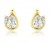 Diamond and White Topaz Pear Cut Earrings, 9k White Gold