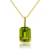 Peridot Drop Pendant Necklace, 9k Gold