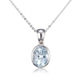 Aquamarine Oval Drop Pendant Necklace, 9k White Gold