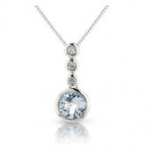 Aquamarine & Diamond Drop Pendant, 9k White Gold