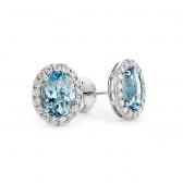 Aquamarine & Diamond Earrings 2.59ct, 9k White Gold