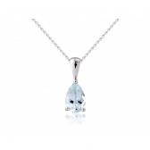 Aquamarine Pear Drop Pendant Necklace, 9k White Gold