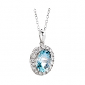 Aquamarine & Diamond Pendant 1.30ct, 9k White Gold