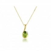 Diamond and Peridot Pear Cut Necklace, 9k Gold