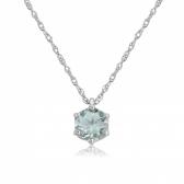 Aquamarine Six Claw Pendant Necklace, 9k White Gold