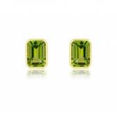 Peridot Octagonal Stud Earrings, 9k Gold