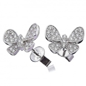 Diamond Butterfly Pave Stud Earrings 0.50ct, 18k White Gold