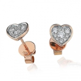 Diamond Cluster Heart Earrings with Bezel 0.30ct, 18k Rose Gold