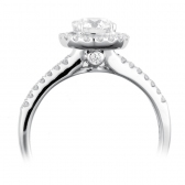Diamond Halo Engagement Ring 1.00ct, 18k White Gold