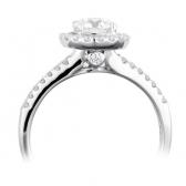 Diamond Halo Engagement Ring 1.00ct, 18k White Gold
