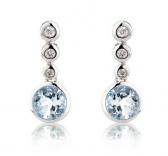 Aquamarine & Diamond Drop Earrings, 9k White Gold